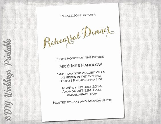 "Rehearsal Dinner Menu Template Beautiful Rehearsal Dinner Invitation Template ""gold Glitter"" Diy"