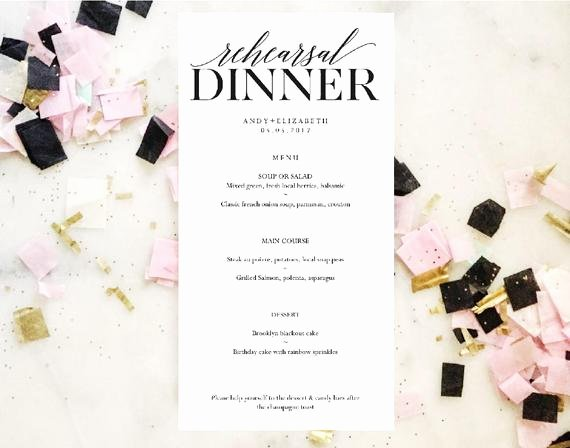 Rehearsal Dinner Menu Template Beautiful Rehearsal Dinner Menu Wedding Menu Template Instant