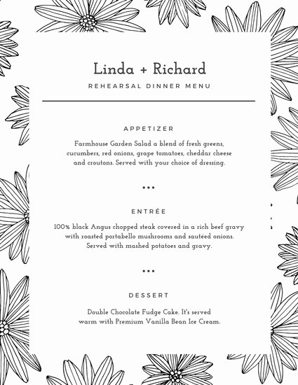 Rehearsal Dinner Menu Template Elegant White Floral Pattern Rehearsal Dinner Menu Templates by