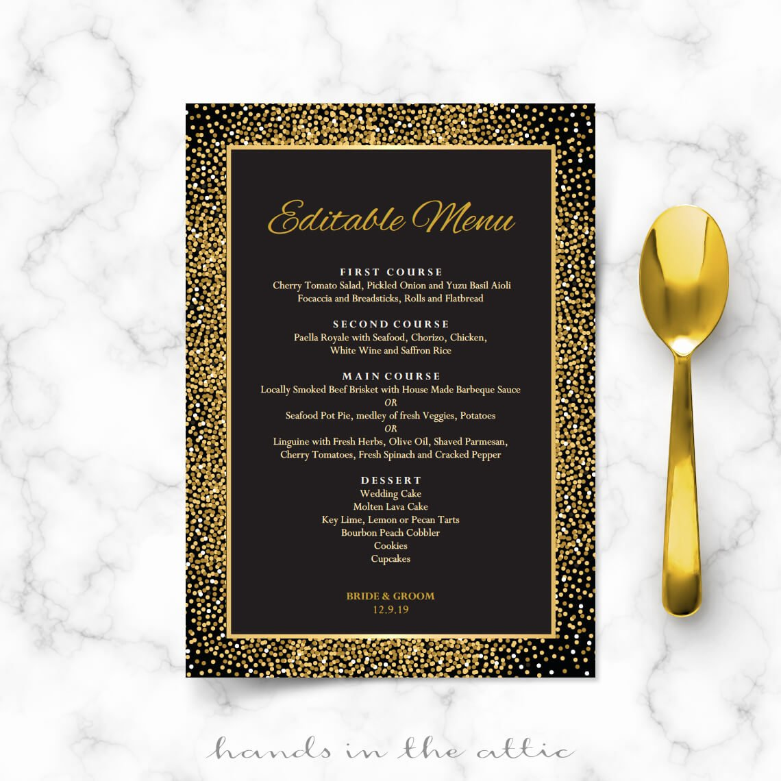 Rehearsal Dinner Menu Template Fresh Rehearsal Dinner Menu Cards Black and Gold Wedding Menu