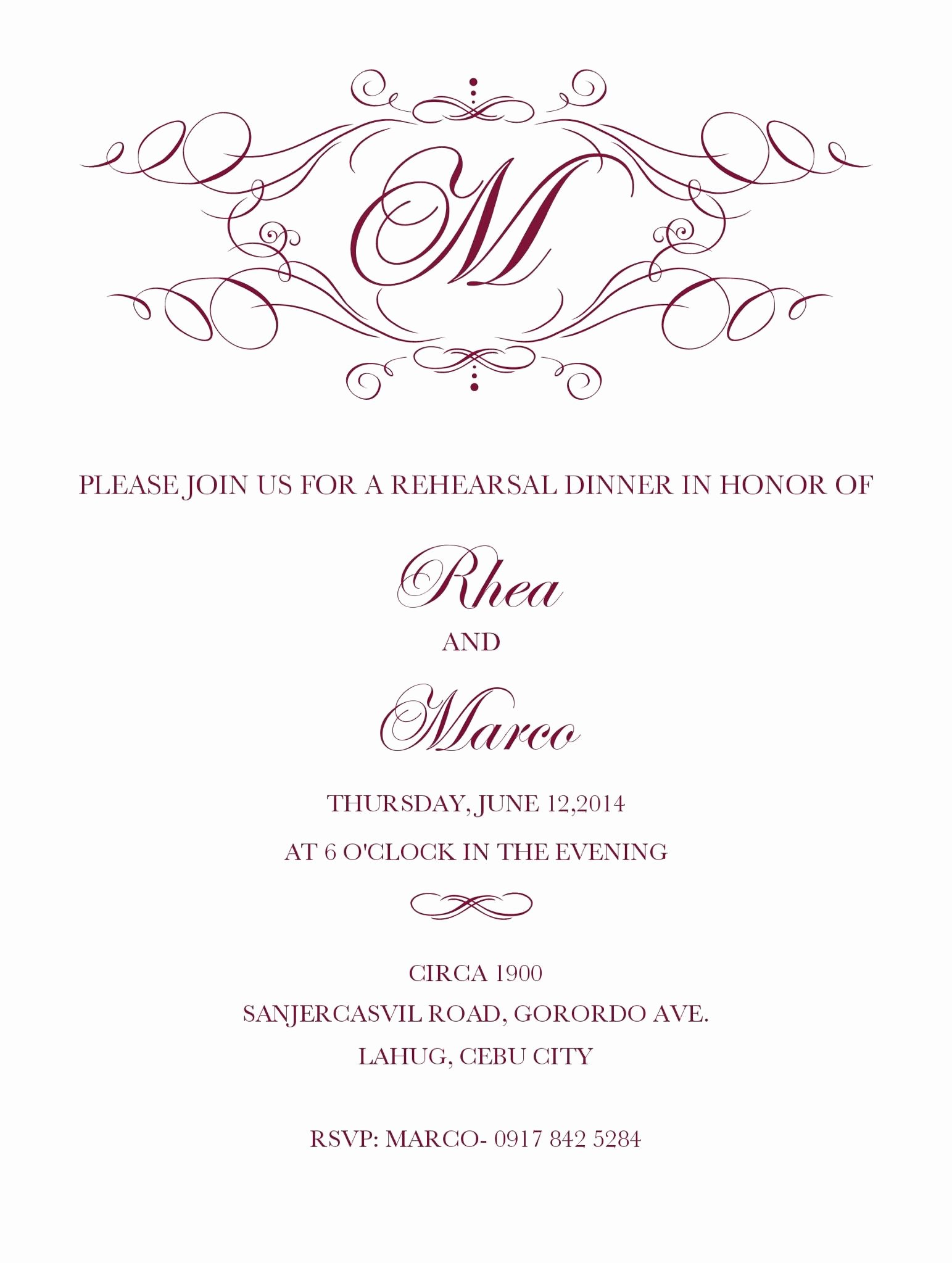 Rehearsal Dinner Menu Template Lovely Pretty Rehearsal Dinner Invitation Template Free