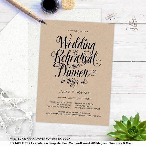 Rehearsal Dinner Menu Template Lovely Printable Rehearsal Dinner Rustic Invitation Templates