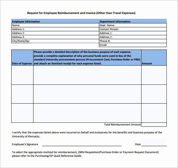 Reimbursement Request form Template Best Of 9 Sample Expense Reimbursement forms