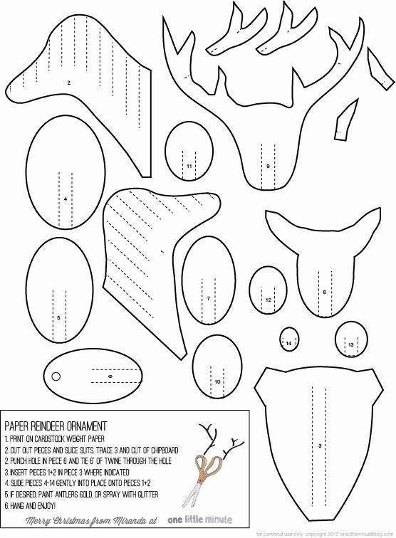 Reindeer Cut Out Template Fresh Diy Paper Reindeer ornaments E Litte Minute
