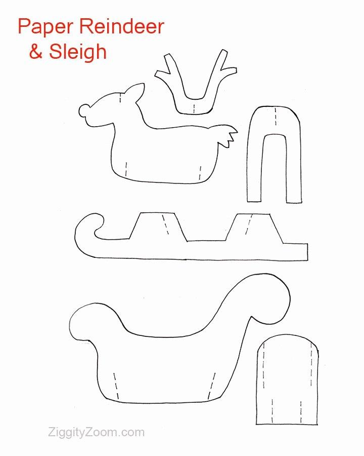 Reindeer Template Cut Out Inspirational Diy Paper Reindeer & Sleigh