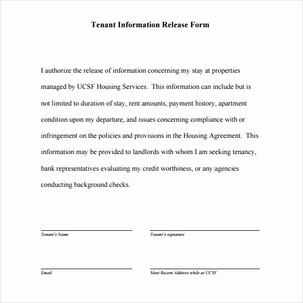 Release Of Information Template Awesome 11 Tenant Information forms – Pdf Word