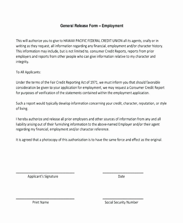 Release Of Information Template Elegant Free General Release form Template Medical History forms