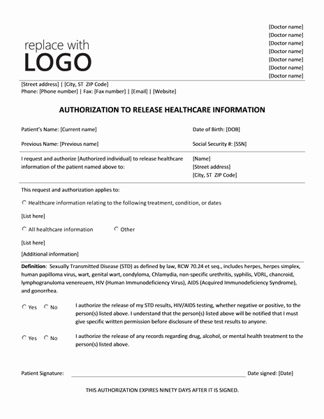 Release Of Information Template Inspirational Authorization to Release Healthcare Information form