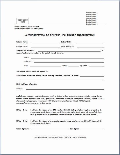 Release Of Information Template Luxury Sample Medical Authorization form Templates