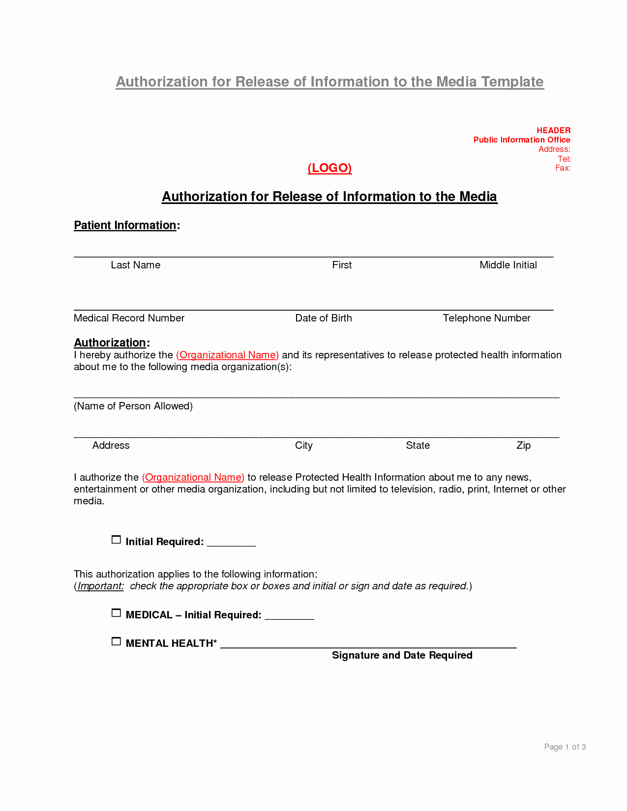 Release Of Information Template New Authorization to Release Information Template