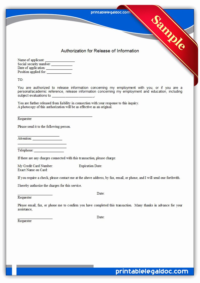 Release Of Information Template New Free Printable Authorization for Medical Treatment form