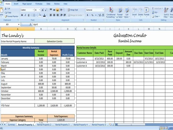 Rent Collection Spreadsheet Template Fresh Landlords Spreadsheet Template Rent and by Timesavingtemplates