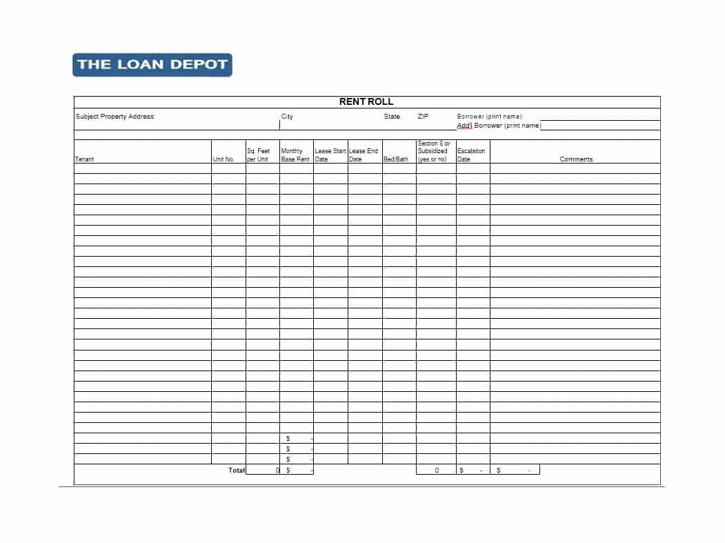 Rent Collection Spreadsheet Template New 47 Rent Roll Templates & forms Template Archive