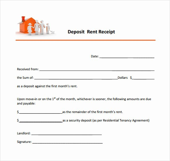 Rent Deposit Receipt Template Awesome 10 Printable Receipt Templates – Free Samples Examples