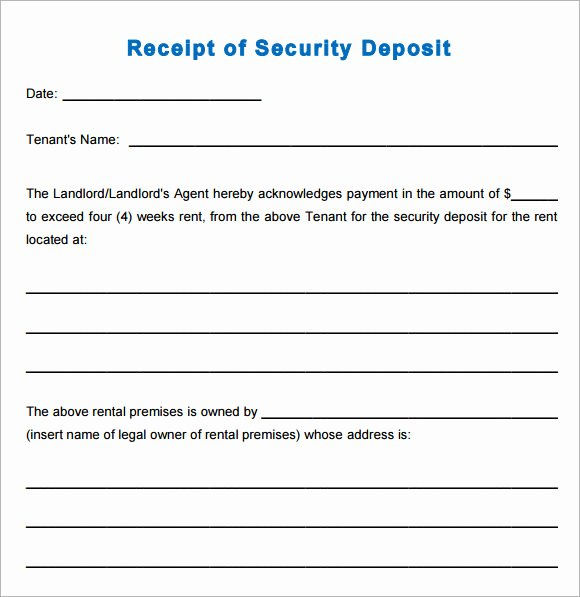Rent Deposit Receipt Template Best Of 10 Printable Receipt Templates – Free Samples Examples