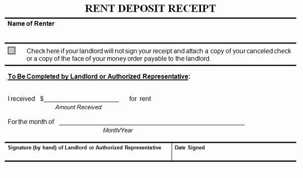 Rent Deposit Receipt Template New Rent Deposit Receipt