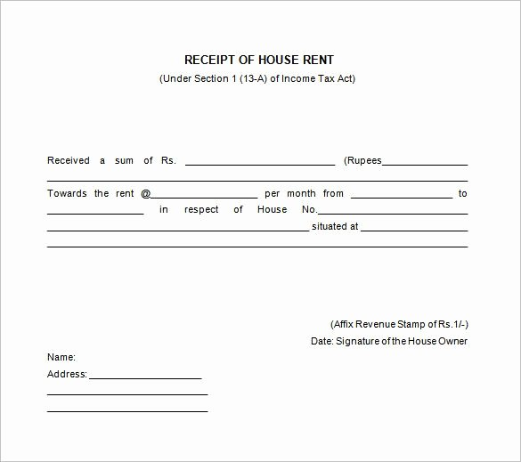 Rent Invoice Template Pdf Elegant House Rent Receipt Templates Receipt Of House Rent