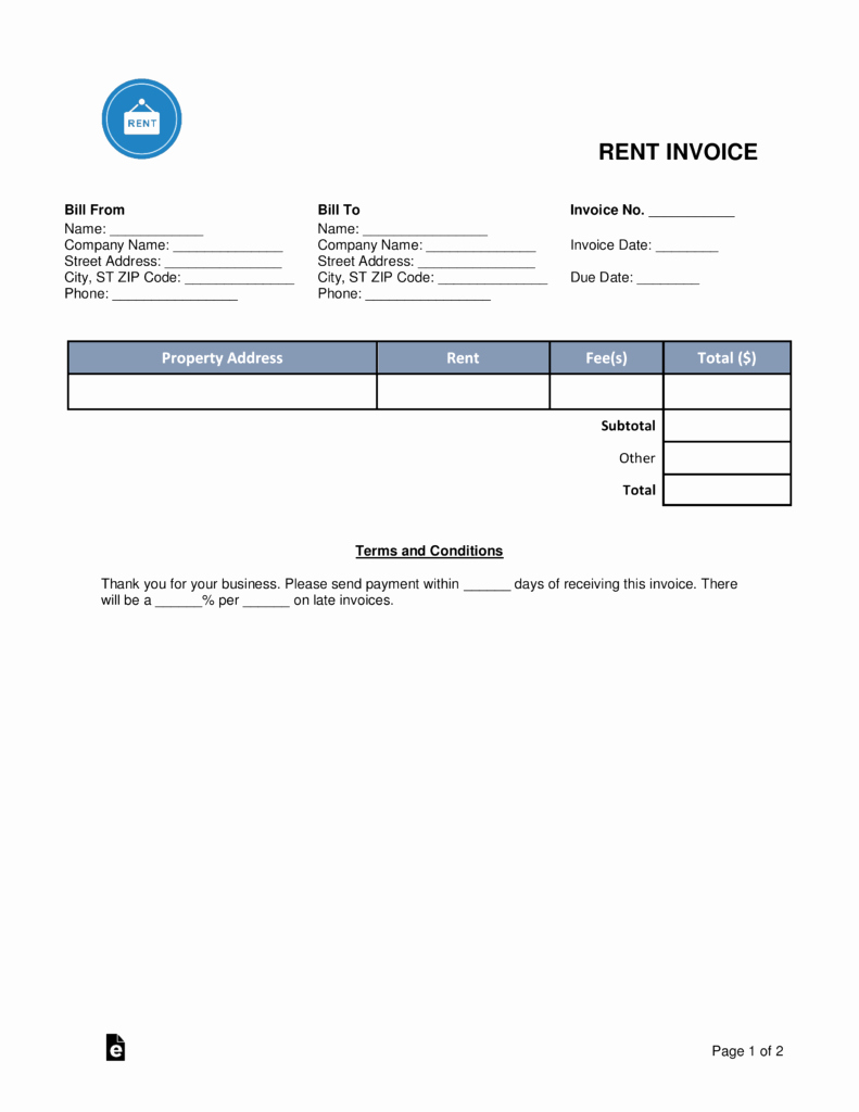 Rent Invoice Template Pdf New Free Rental Monthly Rent Invoice Template Word