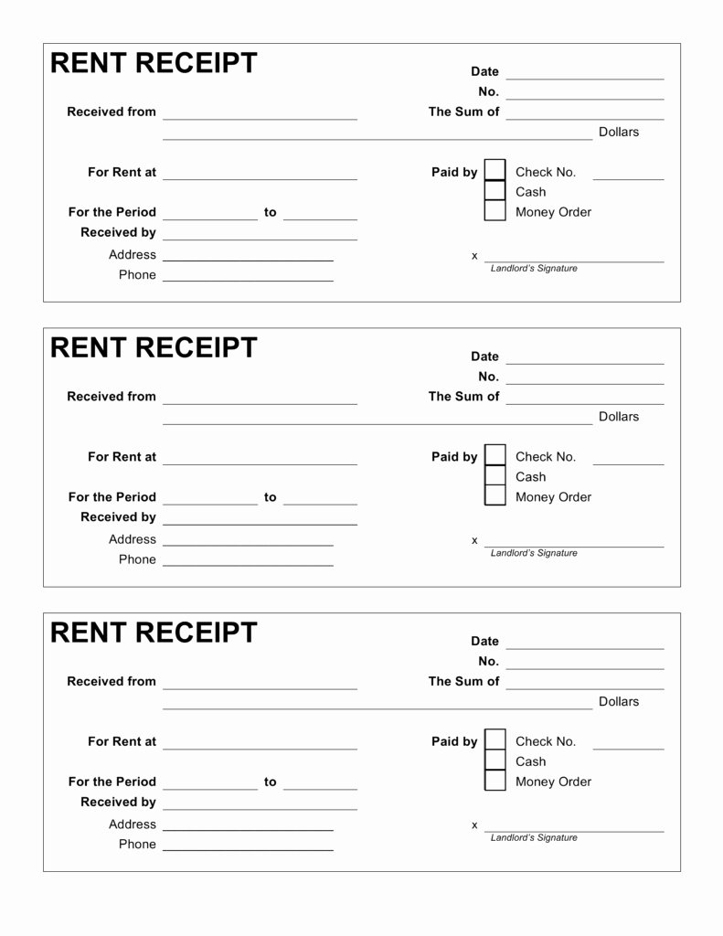 Rent Invoice Template Pdf Unique Printable Rent Receipt