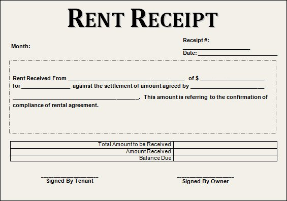 Rent Invoice Template Word Awesome 21 Rent Receipt Templates