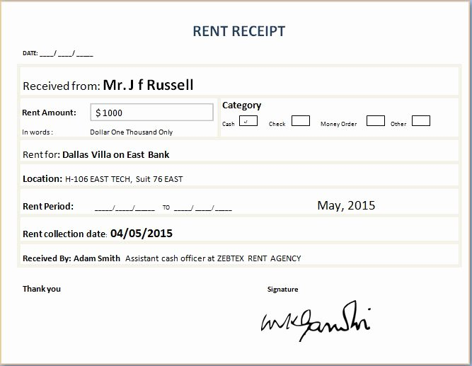 Rent Invoice Template Word New 4 Best Of Fill In Receipt Template Rent Receipt
