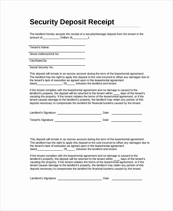 Rental Deposit Receipt Template Inspirational 9 Security Deposit Receipt Templates