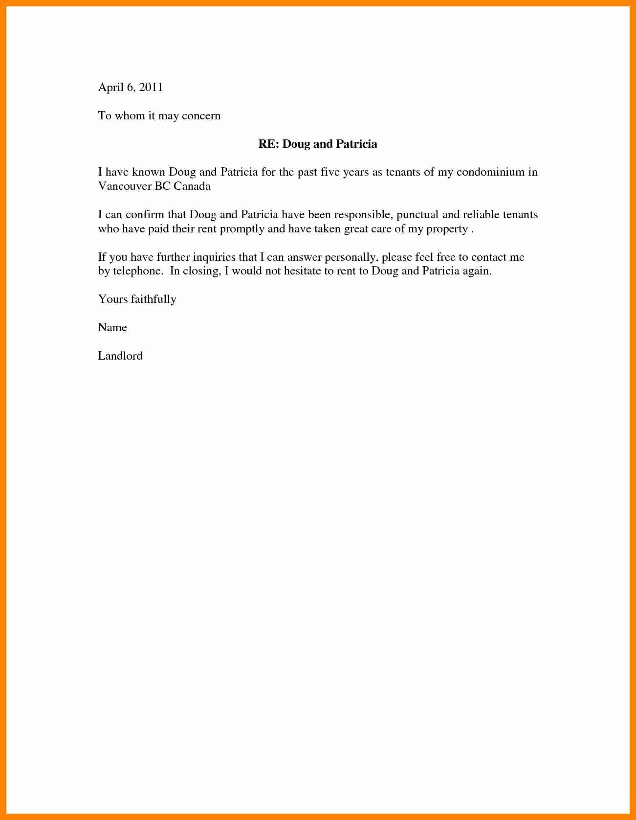 Rental Reference Letter Template Beautiful Rental Re Mendation Letter Portablegasgrillweber