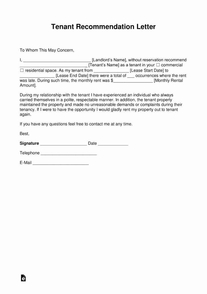 Rental Reference Letter Template Elegant Free Landlord Re Mendation Letter for A Tenant with