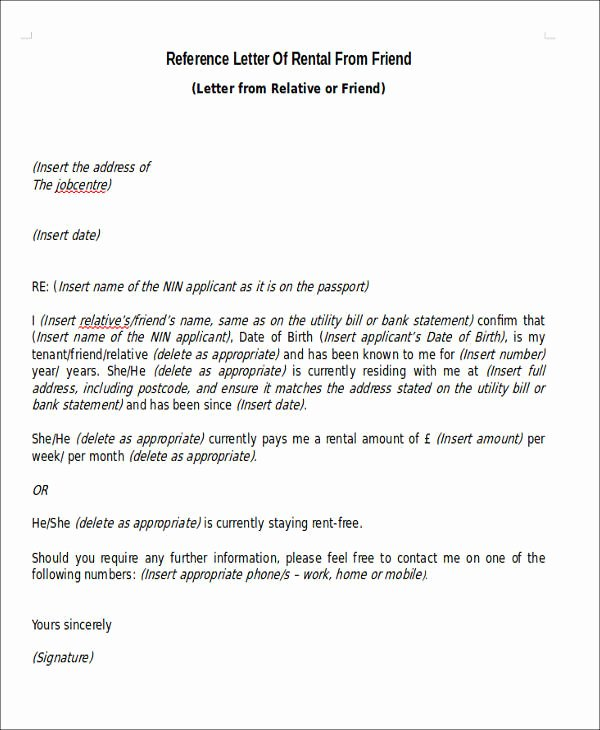 Rental Reference Letter Template Luxury 5 Sample Rental Reference Letters