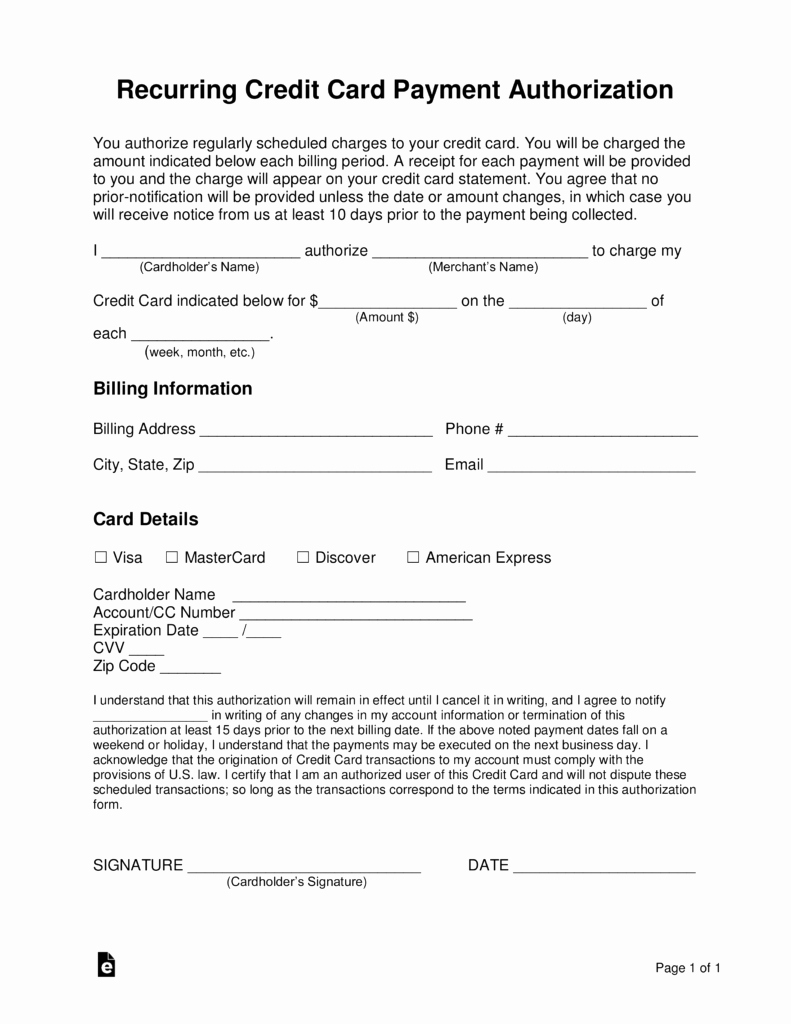 Repair Authorization form Template Elegant Free Recurring Credit Card Authorization form Word