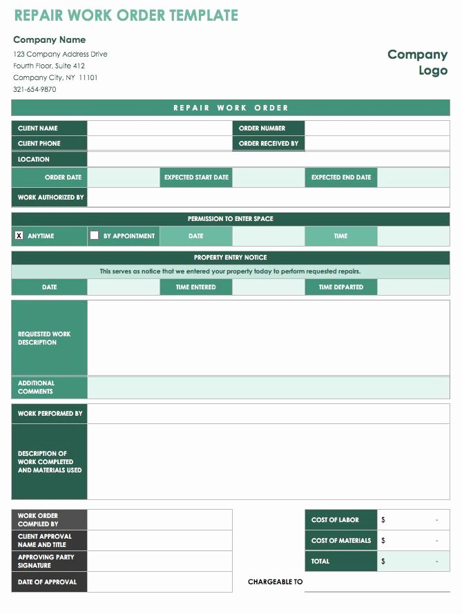 Repair Authorization form Template Fresh 15 Free Work order Templates