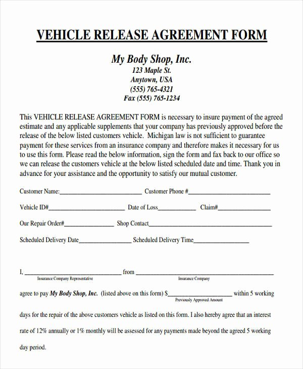 Repair Authorization form Template Lovely 38 Agreement form Samples