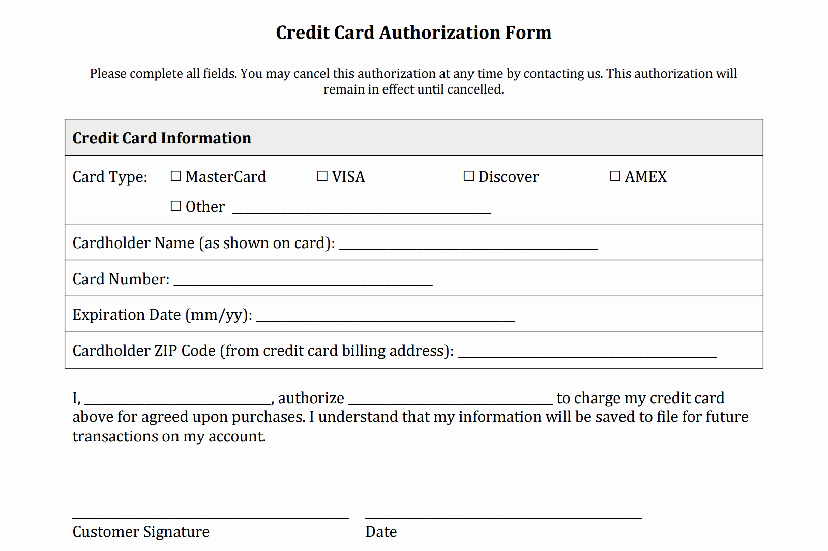 Repair Authorization form Template Lovely Credit Card Authorization form Templates [download]