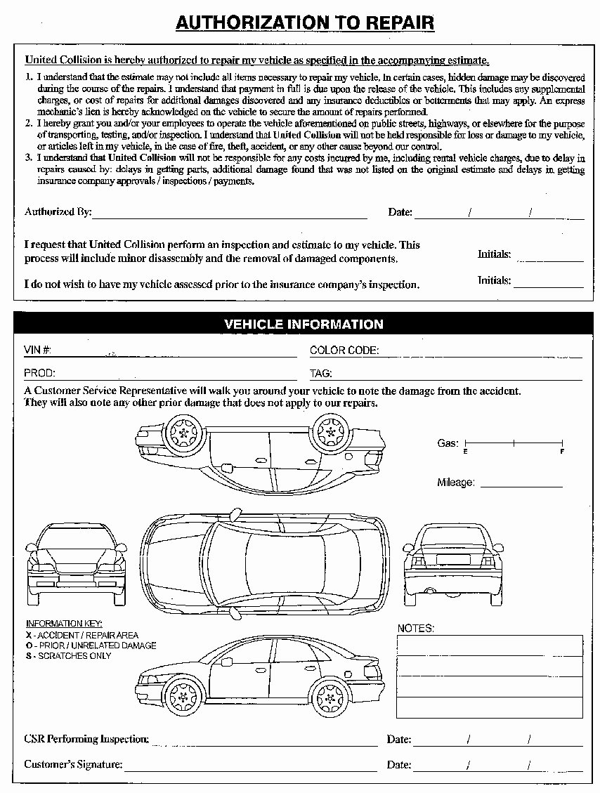 Repair Authorization form Template Lovely United Collision Center Serving Duluth and atlanta Ga
