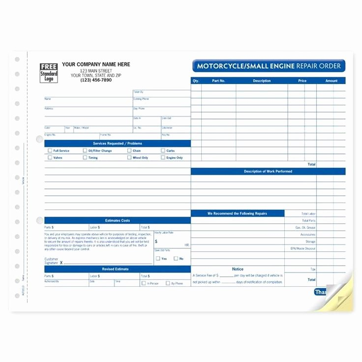 Repair Authorization form Template New 29 Best Work order forms Images On Pinterest