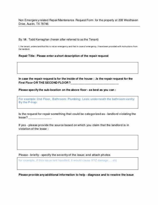 Repair Authorization form Template New Repair Maintenance Request form for Tenant to Fill In This