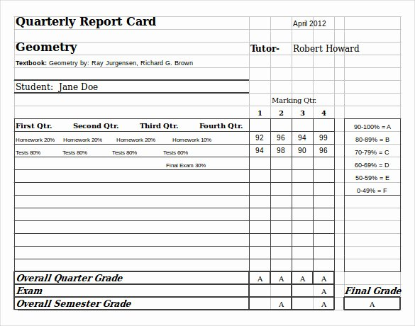 Report Card Template Excel Awesome 6 Sample Homeschool Report Cards