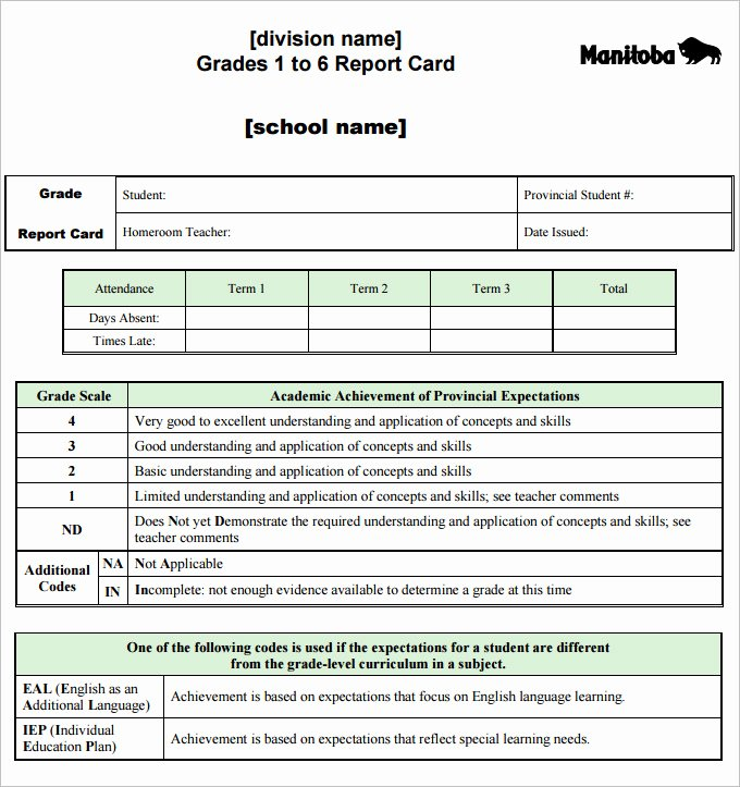 Report Card Template Excel Inspirational Report Card Template 28 Free Word Excel Pdf Documents