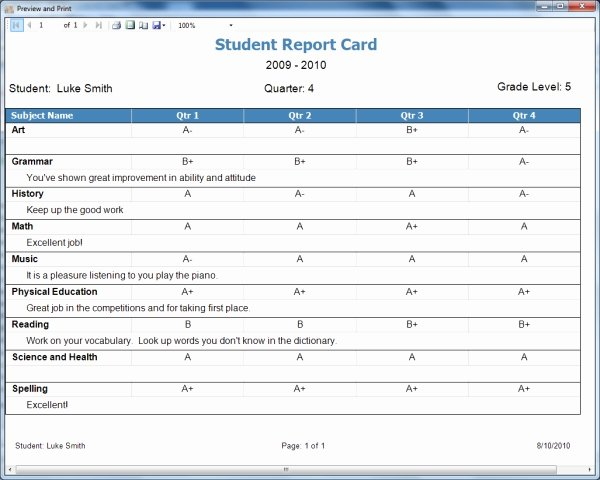 Report Card Template Excel Lovely Homeschool Report Card Template Free
