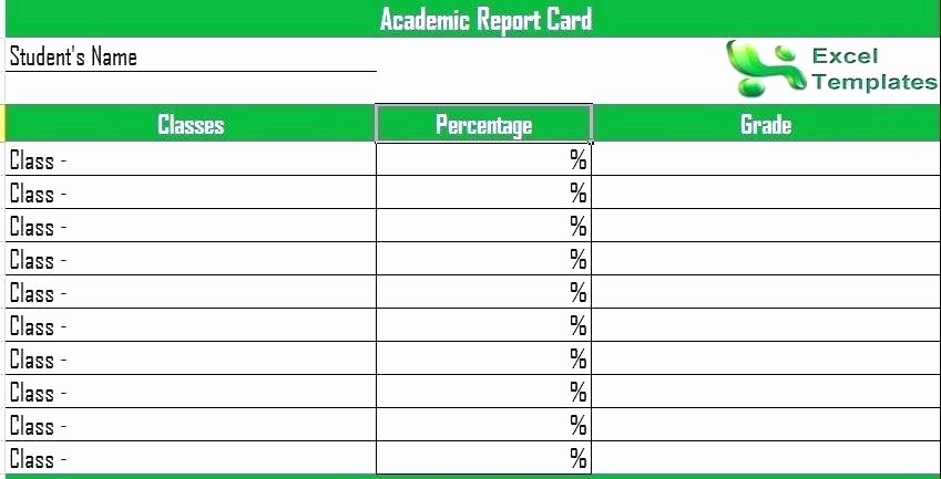 Report Card Template Excel Luxury Report Card Template Excel – Achievecareer2017ub