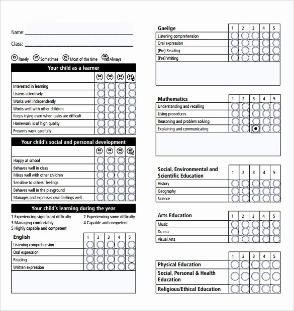 Report Card Template Pdf Luxury Report Card Template 28 Free Word Excel Pdf Documents