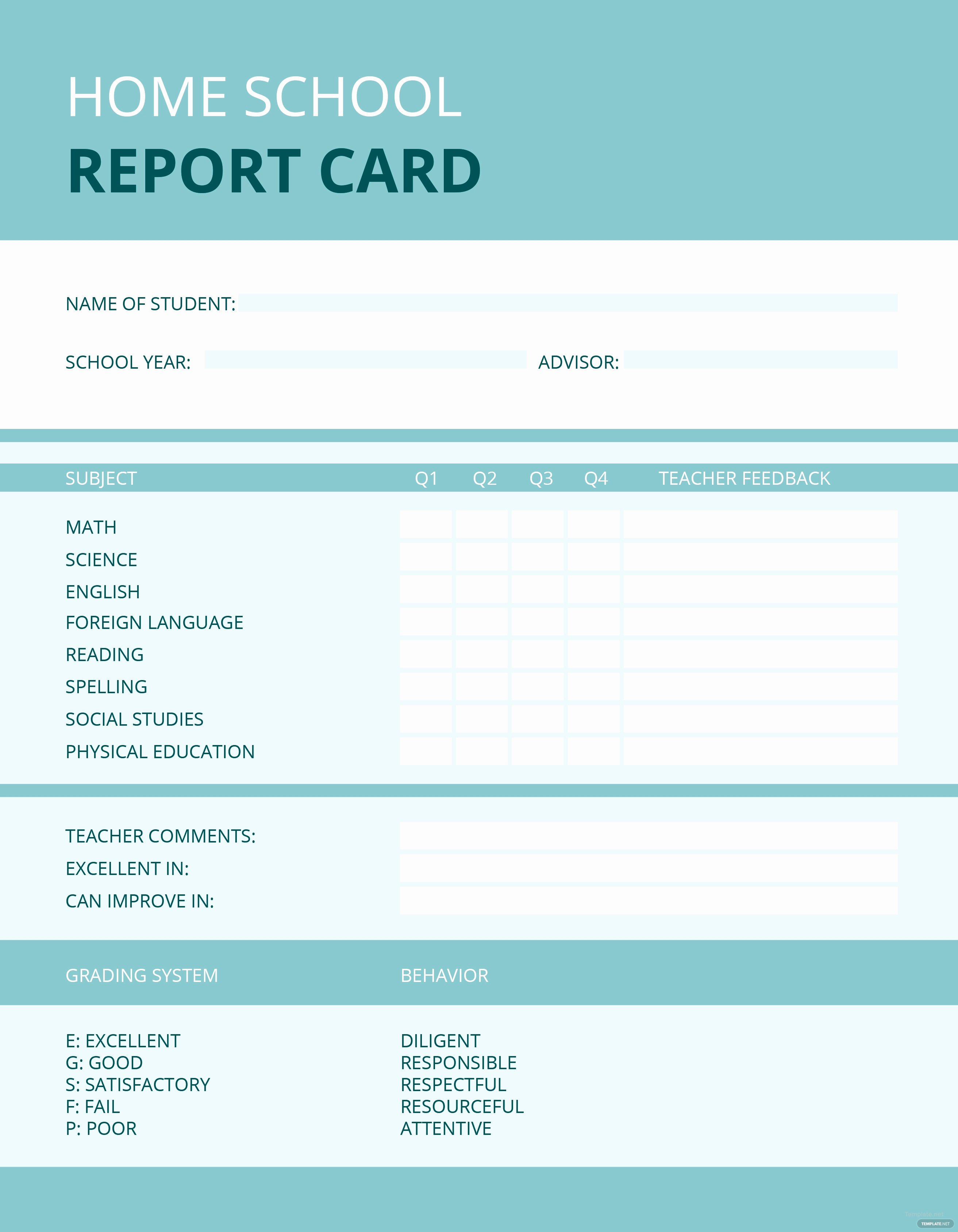 Report Card Template Word Awesome Free Home School Report Card Template In Microsoft Word