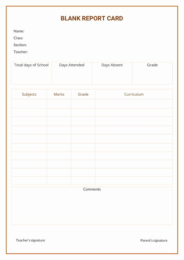 Report Card Template Word Best Of 17 Report Card Template 6 Free Word Excel Pdf