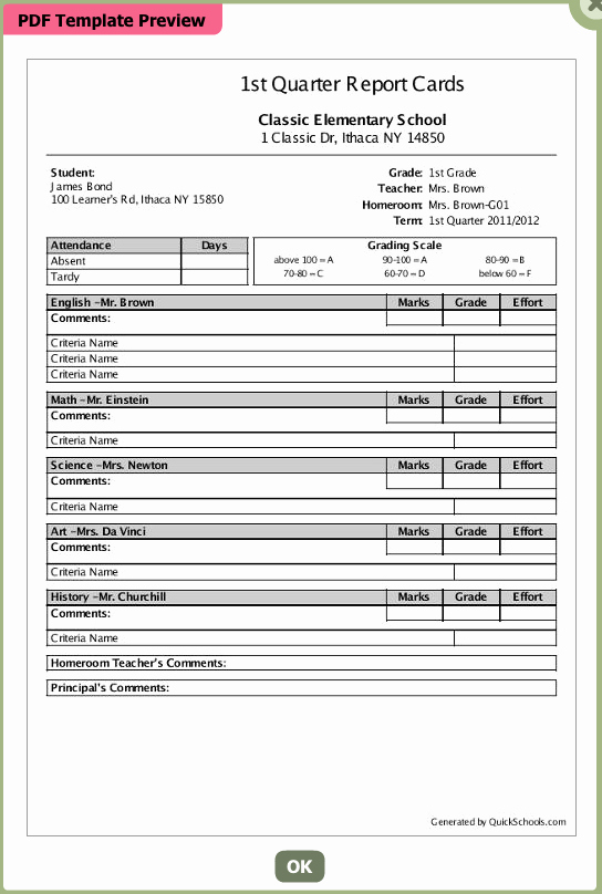 Report Card Template Word Best Of High School Report Card Templates