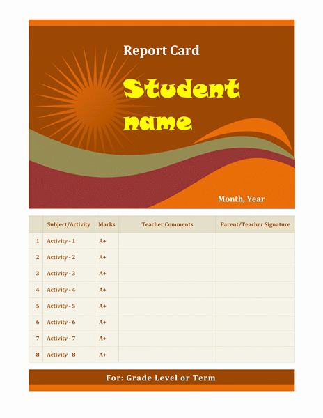 Report Card Template Word Lovely Cards Fice