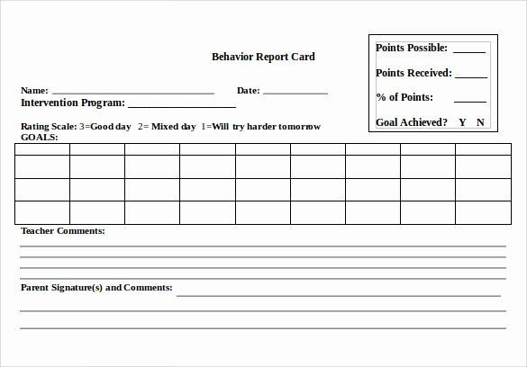 Report Card Template Word New Report Card Template