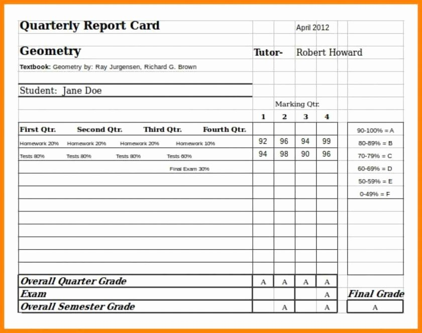 Report Card Template Word New Report Card Template Word