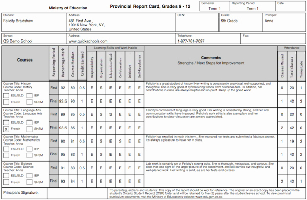 Report Card Template Word New the Tario Province Report Card Template