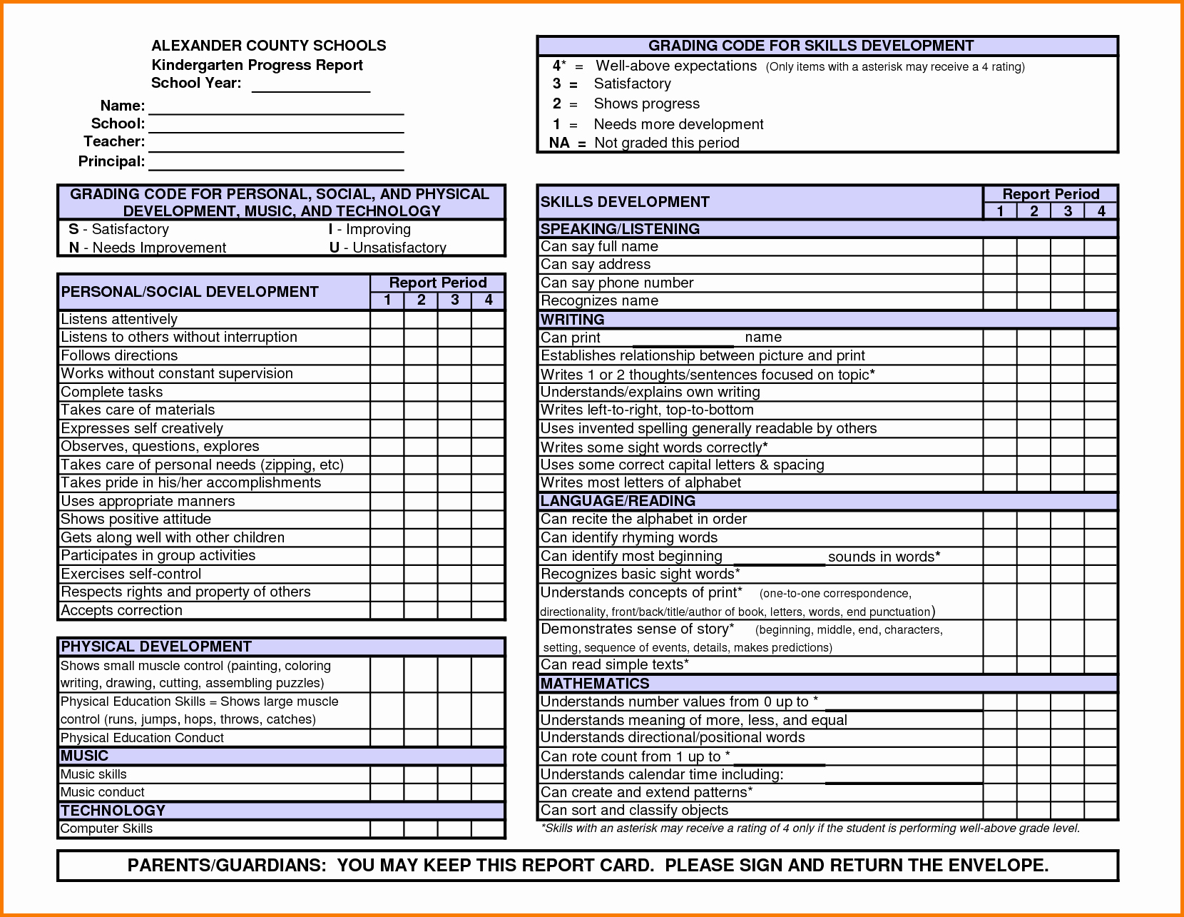Report Card Template Word Unique Kindergarten Report Card Template Word Power