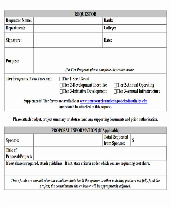 Request for Funds Template Lovely 10 Sample Funding Request forms